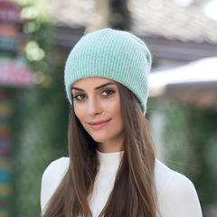 Зимняя пуховая шапка из кролика (мятная)