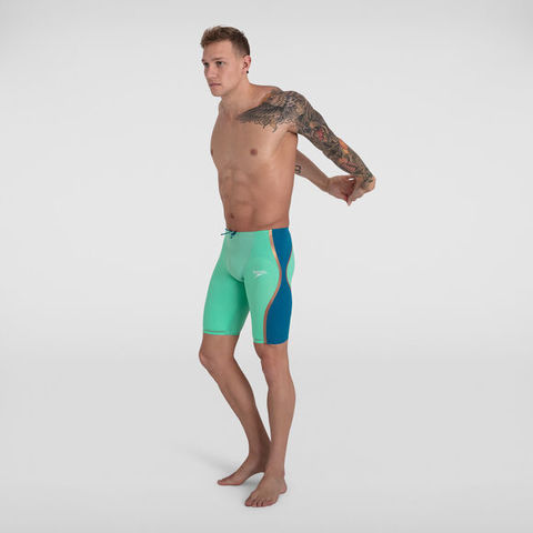 (2020) Стартовые шорты SPEEDO FASTSKIN LZR PURE INTENT High Waist Jammer Green Glow/Nordic Teal / Rose Gold высокая талия ПОД ЗАКАЗ