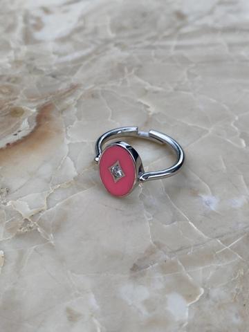 Кольцо Аврора из серебра с розовой эмалью