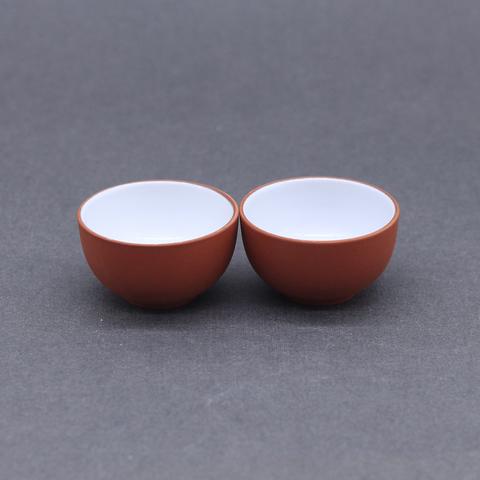 Чашка из рыжей глины глазурованная внутри, 20мл