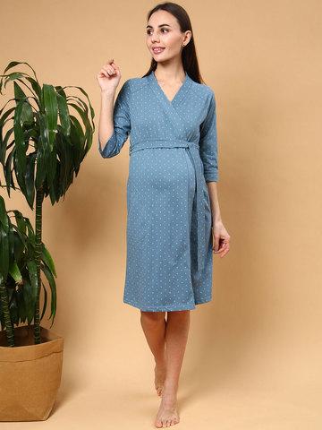 Мамаландия. Халат для беременных и кормящих на запах, звезды/серо-синий