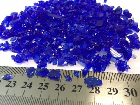 Стеклянная крошка цвет: синий фр. 7-15 мм 60 гр