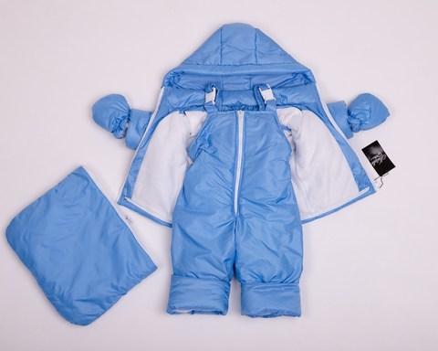 Демисезонный комбинезон тройка для малышей 0-2 года Look голубой