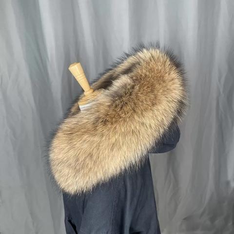 Опушка на капюшон из натурального меха енот.(Широкая) ширина до 20 см вместе с мехом.
