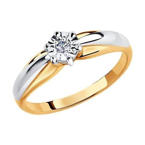 1011578 - Кольцо из комбинированного золота с алмазной гранью с бриллиантом