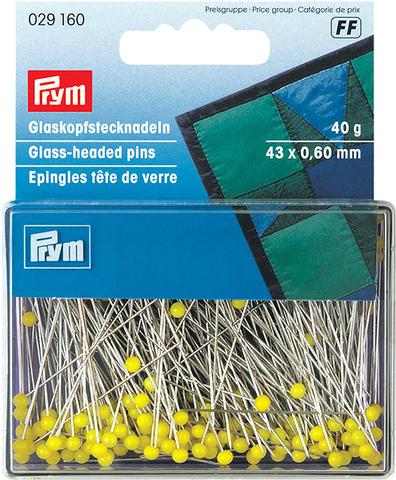 Булавки Prym, термостойкие с желтыми стеклянными головками 43х0,6мм (арт. 029160)