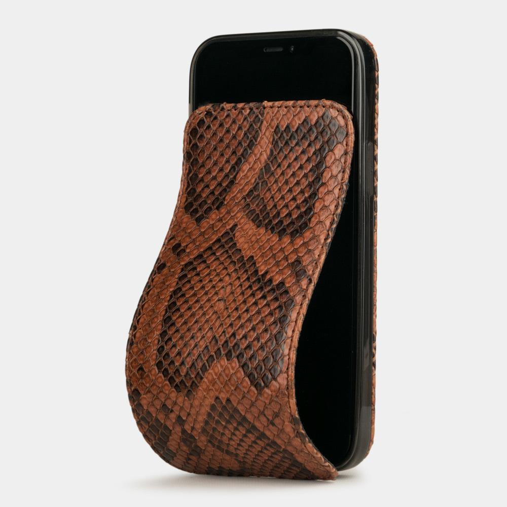 Чехол для iPhone 12 Mini из натуральной кожи питона, цвета Коньяк