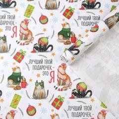 Бумага упаковочная крафтовая, «Лучший подарочек» коты с подарками, 50 × 70 см, 2 листа, 1 уп.