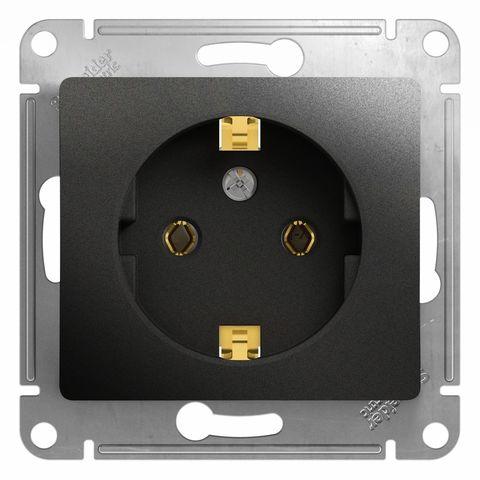 Розетка с заземлением, 16А. Цвет Антрацит. Schneider Electric Glossa. GSL000743