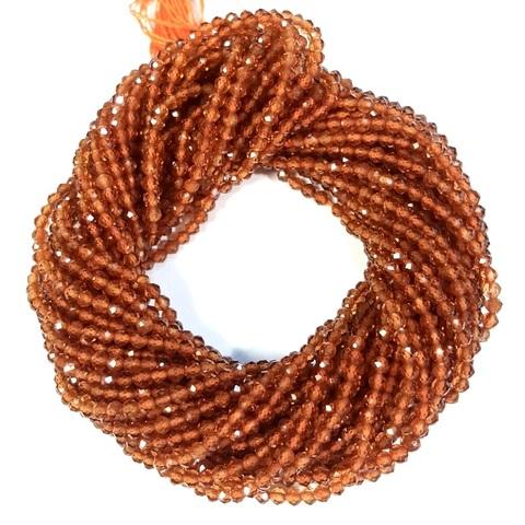 Бусины гранат оранж. (спессартин) AА граненый 2,4 мм цена за 160 бусин (~39 см)
