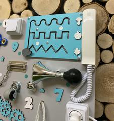 Бизиборд стандарт 50х65 см с телефонной трубкой Бирюзовый для мальчика