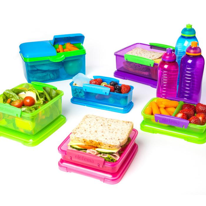 """Ланч-бокс с бутыkкой Sistema """"Lunch"""", 4 секции, 2 л, цвет Фиолетовый"""