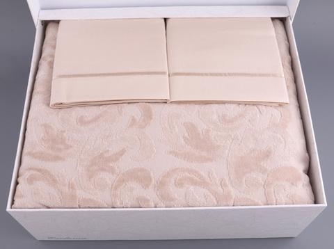 Покрывало махровое с постельным бельем Tivolyo Home BAROC 2 сп розовый