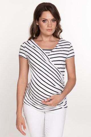 Блузка для беременных и кормящих 10647 полоска черн/бел