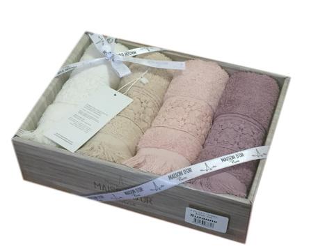 Подарочный набор махровых салфеток с кружевом Сюзанна
