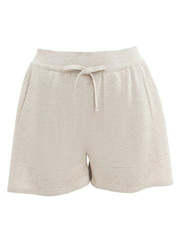 Женские шорты песочного цвета из вискозы - фото 1