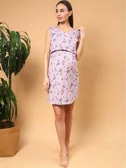 Мамаландия. Сорочка для беременных и кормящих с горизонтальным секретом и рукавом-крылышком, кошки/светло-розовый