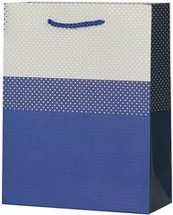 Пакет подарочный, Стильный паттерн, Синий, 23*18*8 см, 1 шт.