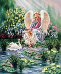 Картина раскраска по номерам 30x40 Игра с лебедями в райском саду