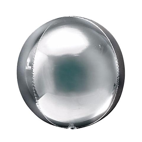 Шар-сфера 3D металлик серебро, 51 см