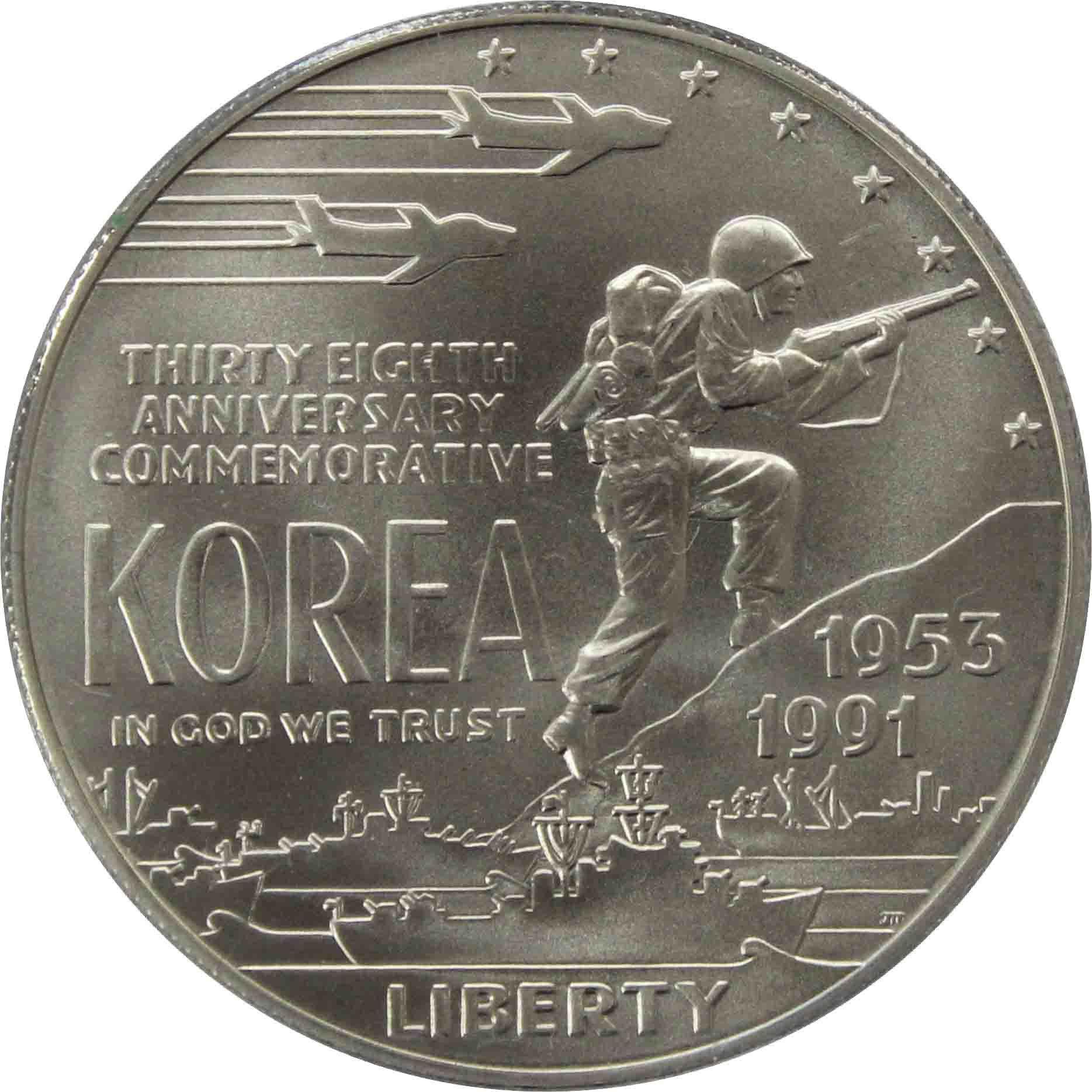 """1 доллар 1991 D """"38 лет Корейской войне"""""""
