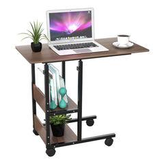 Прикроватный стол для ноутбука с полками на колесах
