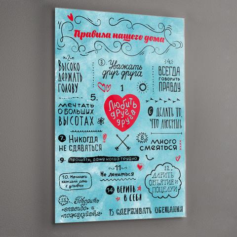 Картина на стекле для интерьера мотиватор Правила дома 28х40 см/ Мотивирующий постер голубой