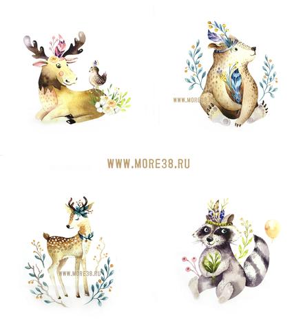 Панель(купон) звери-индейцы(олень,лось,енот,мишка)-36*36см,4 шт.