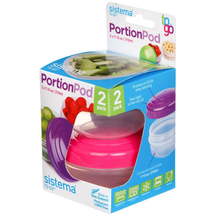 """Набор порционных контейнеров Sistema """"TO GO"""" 210 мл, 2шт., цвет Фиолетовый/Розовый"""