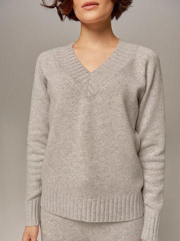 Женский джемпер светло-серого цвета из шерсти и кашемира  - фото 2