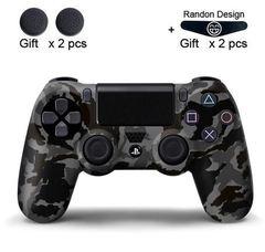 Чехол для геймпада DualShock 4 (камуфляж темно серый-черный перламутровый, накладки + наклейка)