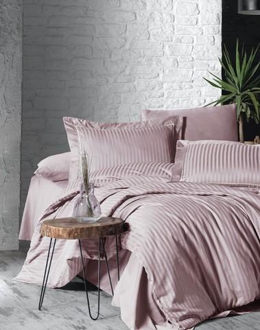 Комплект постельного белья DO&CO Сатин  жаккард DELUX 2 спальный Евро LINEAR цвет пудра