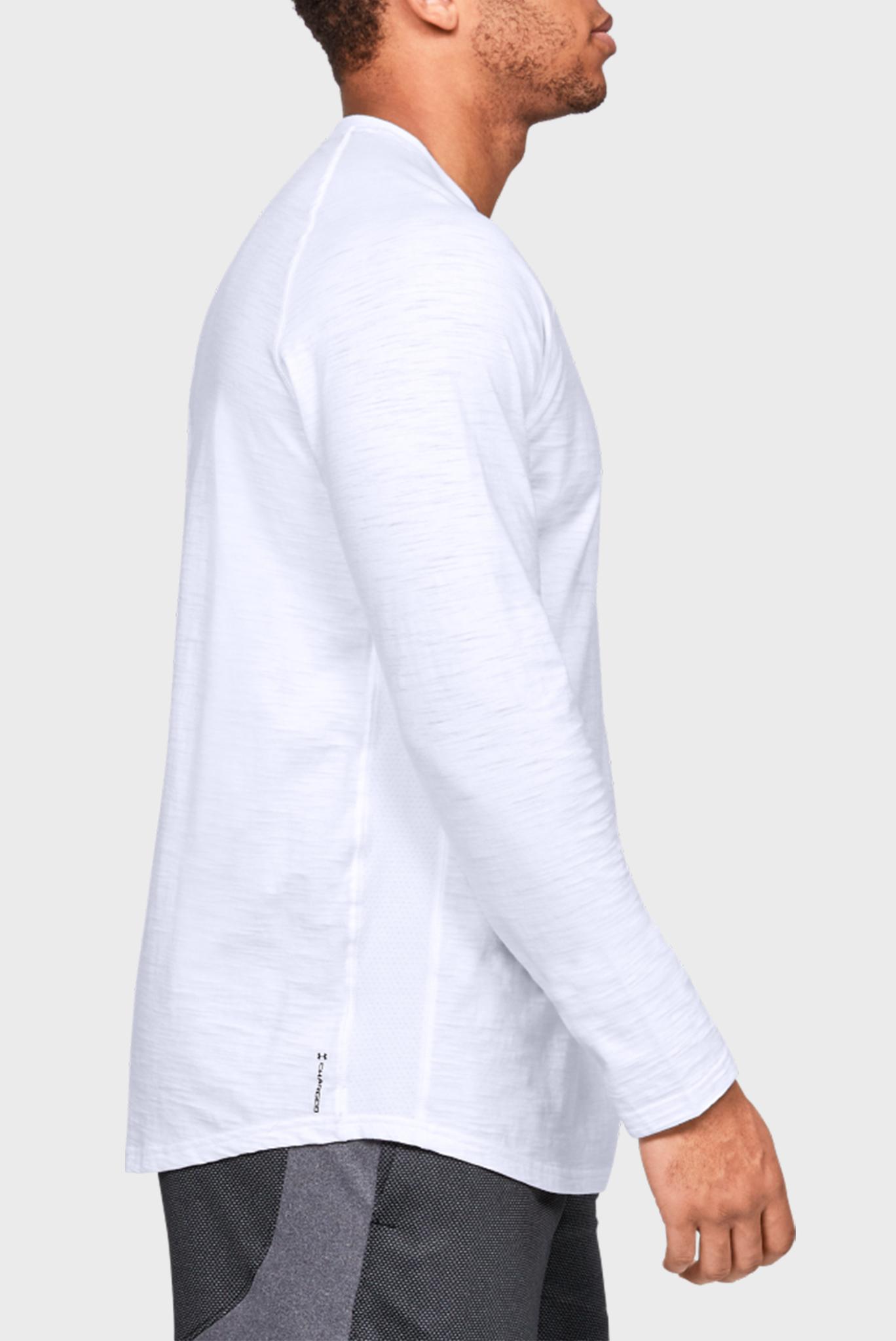 Мужской белый спортивный лонгслив Charged Cotton LS Under Armour