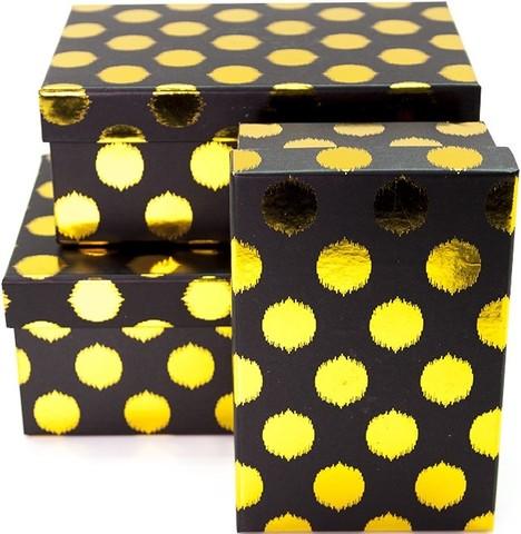 Коробка Золотые точки, Черный, 23*16*10 см