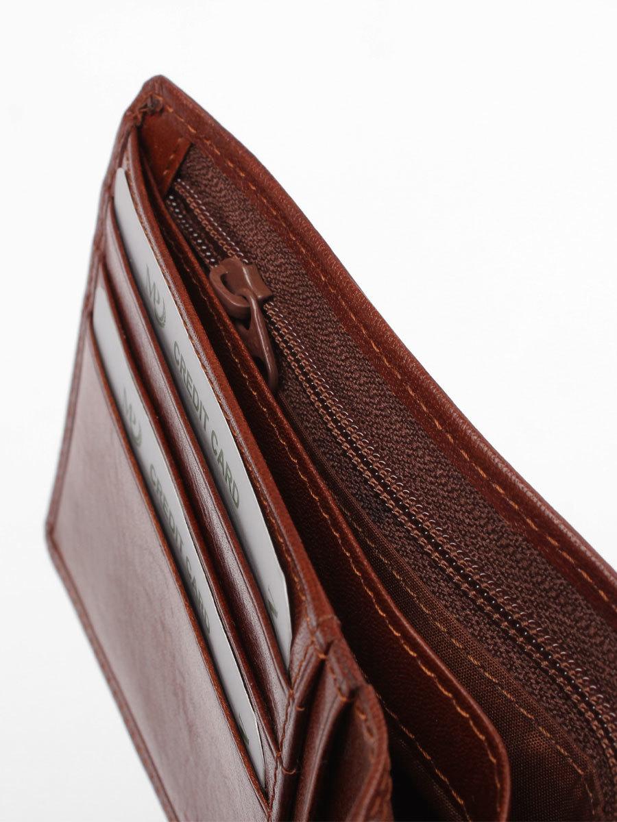 B120321R Cognac - Портмоне MP с отделением на молнии и RFID защитой