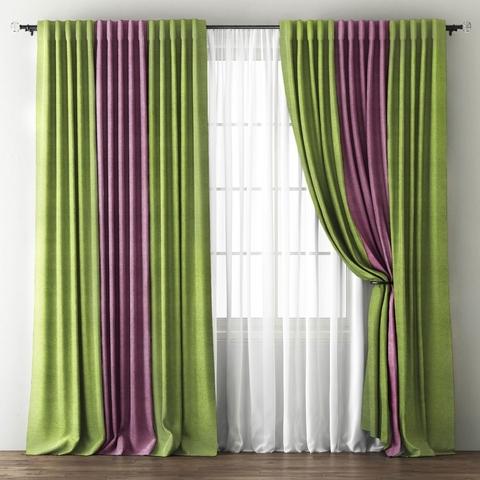 Комплект штор с подхватами Карин зеленый-фиолетовый
