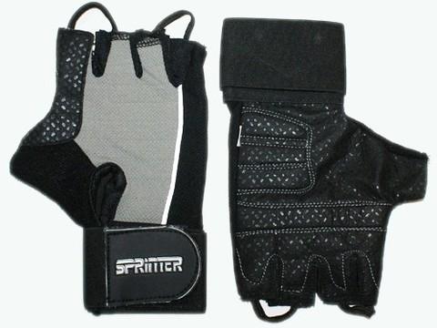 Перчатки для тяжёлой атлетики с напульсником. Цвет: чёрно-серый. Материал: кожа, замша. Размер L. :(A):
