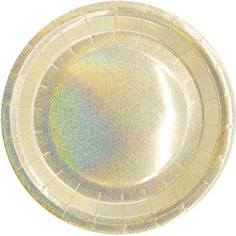 Тарелки голографические золотые, 6 шт