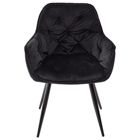 Стулья MALTA BLUVEL-19 BLACK / черный / велюр / каркас черный металл, 2 шт.