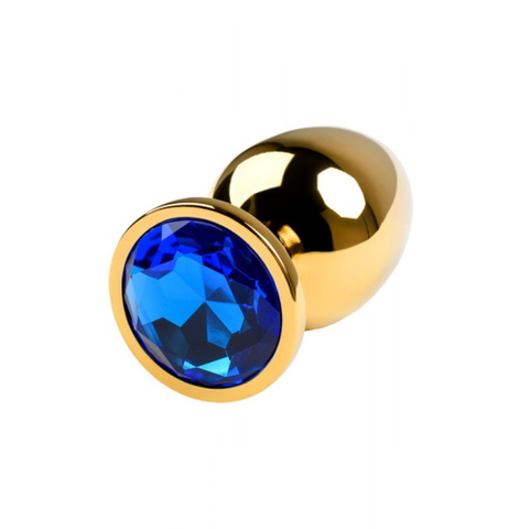 Анальная пробка с кристаллом (золото/синий) малая