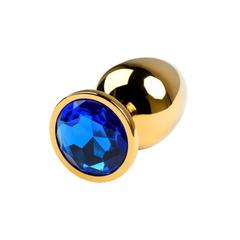 Золотая анальная пробка малая с синим стразом