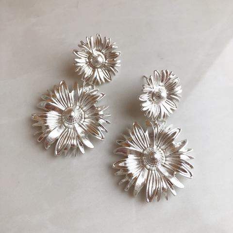Серьги Астра, серебряный цвет