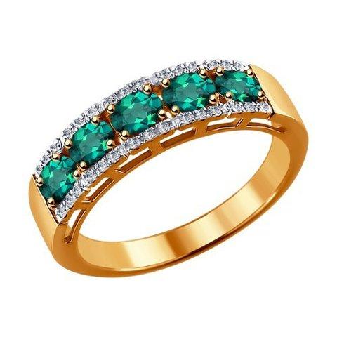 3010527 - Кольцо-дорожка из золота с бриллиантами и изумрудами