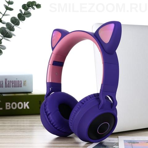 Наушники беспроводные Smilezoom с ушками / Фиолетовые