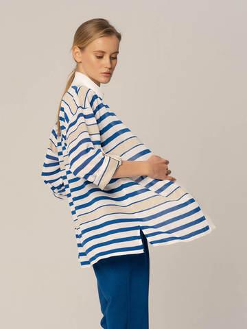 Женский жакет в полоску бело-синего цвета из вискозы - фото 3