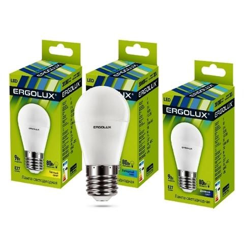 Лампа Ergolux LED-G45-9W-Е27-3K шар (теплый свет)