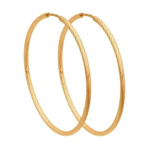 140138- Серьги конго из золота с алмазной гранью Ø 25 мм