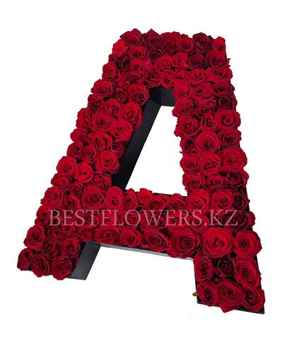 Буква из роз А