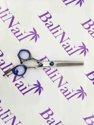 Ножницы филировочные с синей рукояткой, 27 зубцов