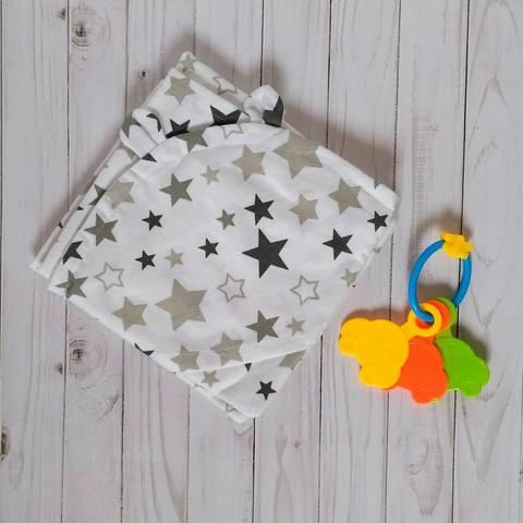Полотенце-пеленка уголок после купания младенца BabyStarTex, 85х85 см, белая серые звезды